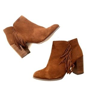 ASOS Tan Fringe Suede-Like Ankle Booties - Size 8